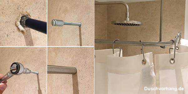 Praxistip: Montage der Duschvorhangstange in harten Fliesen. Mit und ohne Loch.