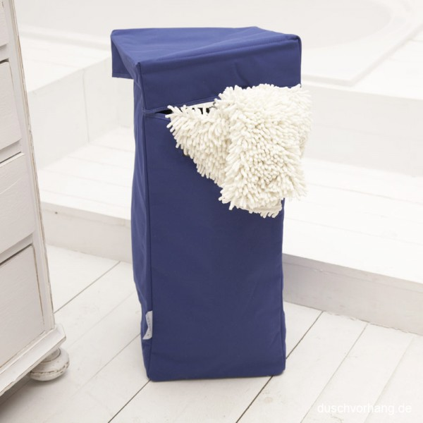 Wäschekorb mit Deckel, Henkel, faltbar - Dunkel Blau - 30x30x60cm