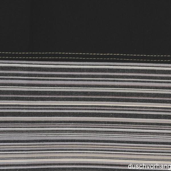 Duschvorhang Textil 180x200 Streifen Schwarz Horizontal