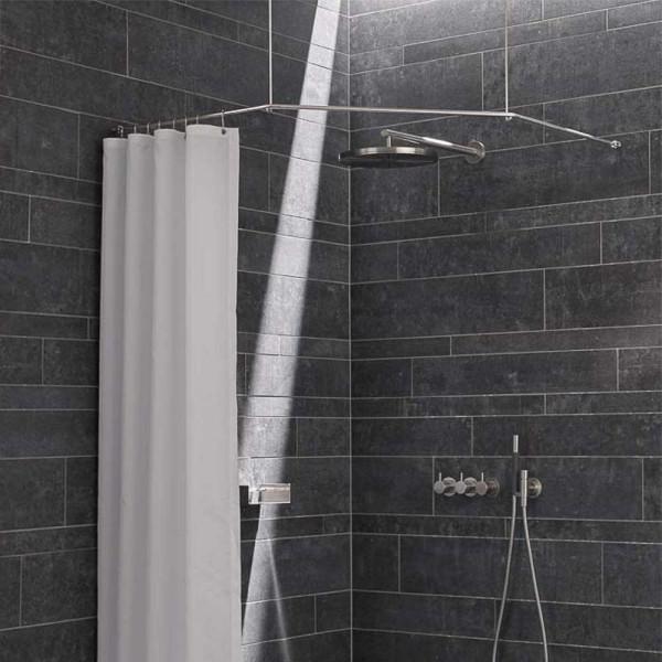 Duschstange DS FE Eckdusche und Eckbadewanne Deckenhalter - Edelstahl