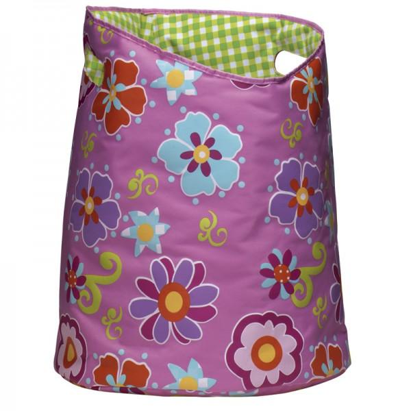Wäschekorb rund, mit Henkel, faltbar - Blume Pink - 50x40cm