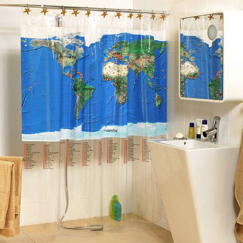 3d Weltkarte 675 Duschvorhang Wasserdicht Faser Bad Daheim Windows