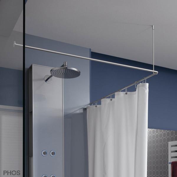 Duschvorhangstange L Form 100x100 - Deckenhalterung mit Glaswand verklebt