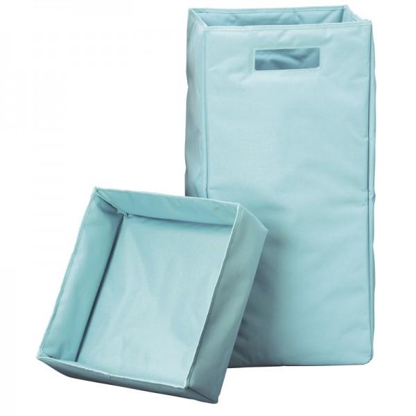 Wäschekorb mit Deckel, Henkel, faltbar - Hellblau - 30x30x60cm