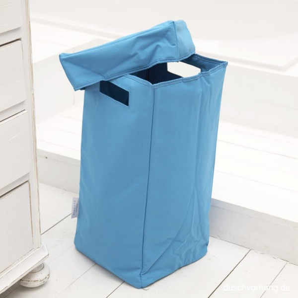 Wäschekorb mit Deckel, Henkel, faltbar - Aqua Blau - 30x30x60cm