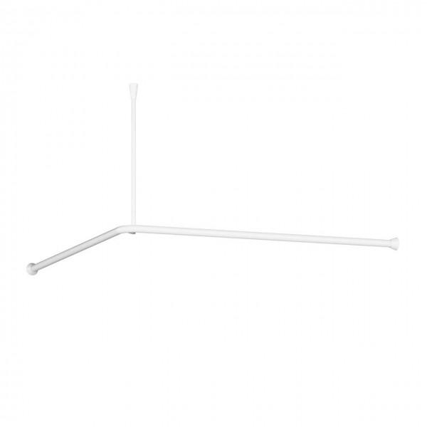 A100 Duschvorhangstange L Form weiss Deckenhalter kürzbar