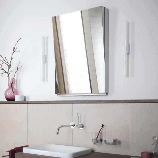 Polierter Edelstahl Badezimmerspiegel ohne Glas zum Klappen