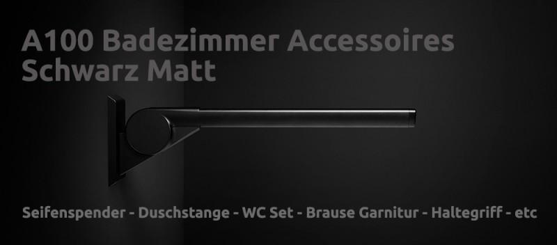 Badezimmer Zubehör Seifenspender WC Garnitur Brause Duschstange Handtuchhalter A100 Accessoires Schwarz Matt