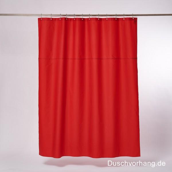 Textil Duschvorhang 180x200 rot. Baumwolle gewachst. Für Badewanne und Dusche. Klebt nicht am Körper.
