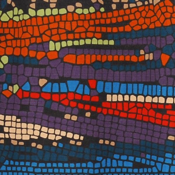 Duschvorhang Textil 180x200 Mosaik auf Dunkel