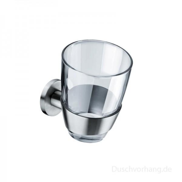 Zahnputzbecher Edelstahl mit Glas